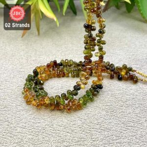 Shop Green Tourmaline Beads! Natural Petro-Green Tourmaline 5-6mm Briolette Drops Gemstone Beads Lot / Approx 244 Pieces on 2 Strands of 9 Inch Length / JBC-ET-157997 | Natural genuine other-shape Green Tourmaline beads for beading and jewelry making.  #jewelry #beads #beadedjewelry #diyjewelry #jewelrymaking #beadstore #beading #affiliate #ad