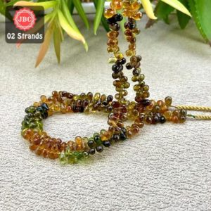 Shop Green Tourmaline Beads! Natural Petro-Green Tourmaline 5-6mm Briolette Drops Gemstone Beads Lot / Approx 244 Pieces on 2 Strands of 9 Inch Length / JBC-ET-157991 | Natural genuine other-shape Green Tourmaline beads for beading and jewelry making.  #jewelry #beads #beadedjewelry #diyjewelry #jewelrymaking #beadstore #beading #affiliate #ad