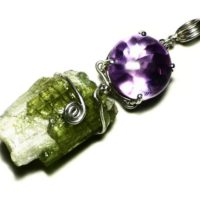 Multi Stone Necklace, Purple Amethyst Fantasy Cut, Green Tourmaline Crystal Pendant, Sterling Silver Bicolor Tourmaline, Buff Top Amethyst   Natural genuine Gemstone jewelry. Buy crystal jewelry, handmade handcrafted artisan jewelry for women.  Unique handmade gift ideas. #jewelry #beadedjewelry #beadedjewelry #gift #shopping #handmadejewelry #fashion #style #product #jewelry #affiliate #ad