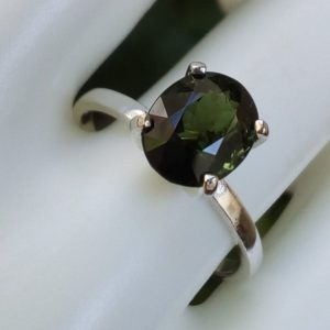 Shop Green Tourmaline Rings! natural green tourmaline ring size 8 sterling silver oval solitaire promise engagement ring jewelry gift | Natural genuine Green Tourmaline rings, simple unique alternative gemstone engagement rings. #rings #jewelry #bridal #wedding #jewelryaccessories #engagementrings #weddingideas #affiliate #ad