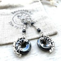 Long Hematite Earrings, Iron Anniversary Gift For Her, Gothic Wedding Earrings, Unique Handmade Silver Earrings | Natural genuine Gemstone jewelry. Buy handcrafted artisan wedding jewelry.  Unique handmade bridal jewelry gift ideas. #jewelry #beadedjewelry #gift #crystaljewelry #shopping #handmadejewelry #wedding #bridal #jewelry #affiliate #ad