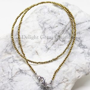 Shop Hematite Necklaces! Hematite Beaded Necklace, 2mm Golden Hematite Necklace, Natural Hematite Micro Faceted Round Beads Necklace, Semi Precious 18 Inch Necklace   Natural genuine Hematite necklaces. Buy crystal jewelry, handmade handcrafted artisan jewelry for women.  Unique handmade gift ideas. #jewelry #beadednecklaces #beadedjewelry #gift #shopping #handmadejewelry #fashion #style #product #necklaces #affiliate #ad