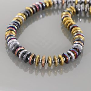 Shop Hematite Necklaces! Hematite Necklace,  Hematite Crystal, Metaphysical, Rainbow Hematite, Hematite Jewelry, Sterling Silver Magnetic Lock, Gift for Friend   Natural genuine Hematite necklaces. Buy crystal jewelry, handmade handcrafted artisan jewelry for women.  Unique handmade gift ideas. #jewelry #beadednecklaces #beadedjewelry #gift #shopping #handmadejewelry #fashion #style #product #necklaces #affiliate #ad