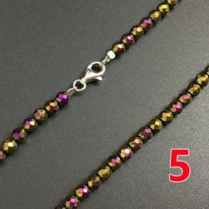 Shop Hematite Necklaces! Necklace Jewelry, Purple Gold Hematite Beads, 3mm Round Faceted Hematite Beads, S925 Clasper Steel Wire Necklace, Women Jewelry 30''   Natural genuine Hematite necklaces. Buy crystal jewelry, handmade handcrafted artisan jewelry for women.  Unique handmade gift ideas. #jewelry #beadednecklaces #beadedjewelry #gift #shopping #handmadejewelry #fashion #style #product #necklaces #affiliate #ad