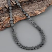 Natural Black Hematite Necklace Smooth Coins Shape Necklace Handmade Jewelry Black Beads Necklace May Birthstone Black Hematite Gift For Her | Natural genuine Gemstone jewelry. Buy crystal jewelry, handmade handcrafted artisan jewelry for women.  Unique handmade gift ideas. #jewelry #beadedjewelry #beadedjewelry #gift #shopping #handmadejewelry #fashion #style #product #jewelry #affiliate #ad