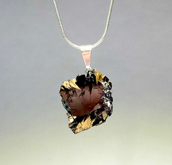 Golden Rutile With Hematite Pendant Necklace