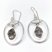 Herkimer Diamond Silver Earrings / / Organic Oval Dangly Setting / / 925 Sterling Silver | Natural genuine Gemstone jewelry. Buy crystal jewelry, handmade handcrafted artisan jewelry for women.  Unique handmade gift ideas. #jewelry #beadedjewelry #beadedjewelry #gift #shopping #handmadejewelry #fashion #style #product #jewelry #affiliate #ad