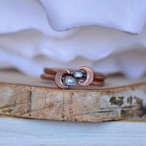 Herkimer Moon Ring, Electroformed Ring, Moon Ring, Unique Christmas Gift, Boho Ring, Stackable Ring for Her, Raw Quartz Ring, Layering Ring | Natural genuine Gemstone rings, simple unique handcrafted gemstone rings. #rings #jewelry #shopping #gift #handmade #fashion #style #affiliate #ad