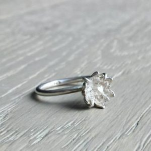 Raw Herkimer Diamond Ring, Organic Natural Stone Jewelry, Raw Crystal Ring for Her, Engagement Ring, Wife Valentines, Girlfriend Gift | Natural genuine Gemstone rings, simple unique alternative gemstone engagement rings. #rings #jewelry #bridal #wedding #jewelryaccessories #engagementrings #weddingideas #affiliate #ad