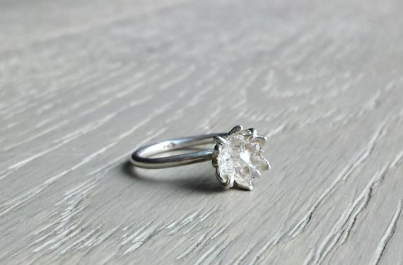 Raw Herkimer Diamond Ring, Organic Natural Stone Jewelry, Raw Crystal Ring For Her, Engagement Ring, Wife Valentines, Girlfriend Gift