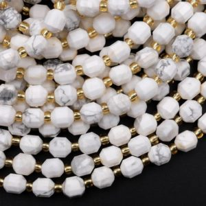 """Shop Howlite Faceted Beads! Natural Howlite 6mm 8mm Beads Faceted Energy Prism Double Terminated Point Cut 15.5"""" Strand 