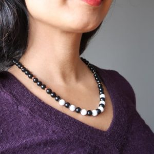 Shop Jet Necklaces! Howlite Jet Stone Necklace Black White Classic Modern Beaded Gemstones   Natural genuine Jet necklaces. Buy crystal jewelry, handmade handcrafted artisan jewelry for women.  Unique handmade gift ideas. #jewelry #beadednecklaces #beadedjewelry #gift #shopping #handmadejewelry #fashion #style #product #necklaces #affiliate #ad