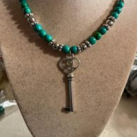 Green Necklace – Howlite Gemstone Jewellery – Silver Key Pendant – Beaded Jewelry – Long | Natural genuine Gemstone jewelry. Buy crystal jewelry, handmade handcrafted artisan jewelry for women.  Unique handmade gift ideas. #jewelry #beadedjewelry #beadedjewelry #gift #shopping #handmadejewelry #fashion #style #product #jewelry #affiliate #ad
