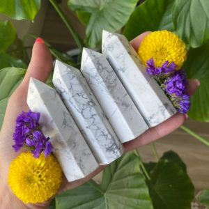 Shop Howlite Points & Wands! White Howlite Tower, White Howlite Generator,  Intuition   Natural genuine stones & crystals in various shapes & sizes. Buy raw cut, tumbled, or polished gemstones for making jewelry or crystal healing energy vibration raising reiki stones. #crystals #gemstones #crystalhealing #crystalsandgemstones #energyhealing #affiliate #ad