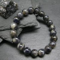 Iolite Cordierite Genuine Bracelet ~ 7 Inches ~ 10mm Round Beads | Natural genuine Gemstone jewelry. Buy crystal jewelry, handmade handcrafted artisan jewelry for women.  Unique handmade gift ideas. #jewelry #beadedjewelry #beadedjewelry #gift #shopping #handmadejewelry #fashion #style #product #jewelry #affiliate #ad