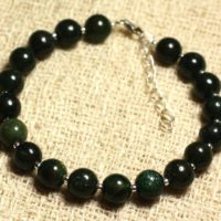 Bracelet 925 Sterling Silver And Semi Precious – Jade Green 8 Mm   Natural genuine Gemstone jewelry. Buy crystal jewelry, handmade handcrafted artisan jewelry for women.  Unique handmade gift ideas. #jewelry #beadedjewelry #beadedjewelry #gift #shopping #handmadejewelry #fashion #style #product #jewelry #affiliate #ad