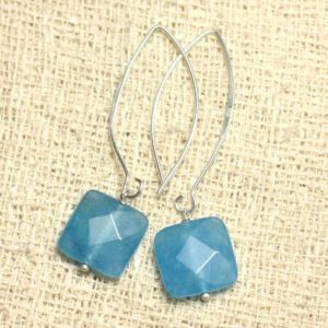Shop Jade Earrings! Earrings 925 sterling silver and stone – blue Jade faceted 14mm square | Natural genuine Jade earrings. Buy crystal jewelry, handmade handcrafted artisan jewelry for women.  Unique handmade gift ideas. #jewelry #beadedearrings #beadedjewelry #gift #shopping #handmadejewelry #fashion #style #product #earrings #affiliate #ad
