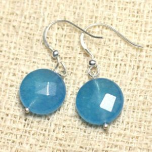Shop Jade Earrings! Earrings 925 sterling silver and stone – blue Jade faceted beads 14mm | Natural genuine Jade earrings. Buy crystal jewelry, handmade handcrafted artisan jewelry for women.  Unique handmade gift ideas. #jewelry #beadedearrings #beadedjewelry #gift #shopping #handmadejewelry #fashion #style #product #earrings #affiliate #ad