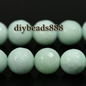 Shop Jade Faceted Beads! 15 inch strand of Blue malaysia jade faceted round beads 8mm | Natural genuine faceted Jade beads for beading and jewelry making.  #jewelry #beads #beadedjewelry #diyjewelry #jewelrymaking #beadstore #beading #affiliate #ad