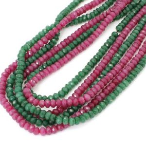 Shop Jade Faceted Beads! Jade, 3mm x 5mm Green Hot Pink Faceted Rondelle Loose Gemstone Beads – RDF67 | Natural genuine faceted Jade beads for beading and jewelry making.  #jewelry #beads #beadedjewelry #diyjewelry #jewelrymaking #beadstore #beading #affiliate #ad