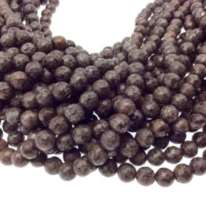 """Shop Jasper Faceted Beads! 6mm Faceted Natural Brown Snowflake Jasper Round/Ball Shaped Beads with 1mm Holes – Sold by 15"""" Strands (~ 60 Beads) – Quality Gemstone 