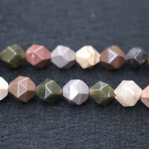"""Shop Jasper Faceted Beads! Natural Faceted Imperial Jasper Beads,Imperial Jasper Beads,4mm 6mm 8mm 10mm Star Cut Faceted beads,one strand 15"""" 
