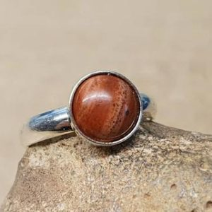 Shop Jasper Rings! Minimalist Red brown jasper ring. 925 sterling silver rings for women. Reiki jewelry uk. Women's Adjustable stacking ring. 8mm stone | Natural genuine Jasper rings, simple unique handcrafted gemstone rings. #rings #jewelry #shopping #gift #handmade #fashion #style #affiliate #ad