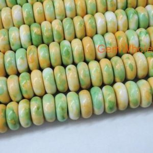 """Shop Jasper Rondelle Beads! 15.5"""" Dyed 3x8mm roundel Yellow Green rain flower stone beads, Yellow green color rain flower jasper beads,yellow DIY stone stone 