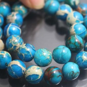 Shop Jasper Beads! Blue Sea Sediment Jasper Gemstone Beads,6mm/8mm/10mm/12mm Smooth and Round Stone Beads,15 inches one starand | Natural genuine beads Jasper beads for beading and jewelry making.  #jewelry #beads #beadedjewelry #diyjewelry #jewelrymaking #beadstore #beading #affiliate #ad