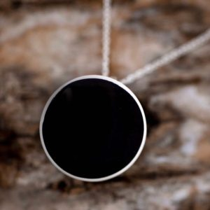 Shop Jet Jewelry! Whitby Jet pendant – Whitby Jet round pendant with sterling silver – Gemstone Pendant – Chain Included | Natural genuine Jet jewelry. Buy crystal jewelry, handmade handcrafted artisan jewelry for women.  Unique handmade gift ideas. #jewelry #beadedjewelry #beadedjewelry #gift #shopping #handmadejewelry #fashion #style #product #jewelry #affiliate #ad