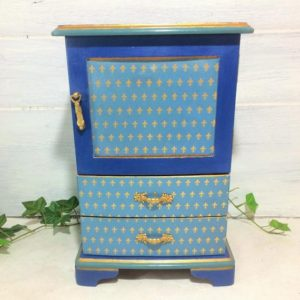 Shop Men's Jewelry Boxes! Jewelry Box Armoire Shades of Blue , Gold Fleur de Lis Jewelry Cabinet, Turquoise Indigo Gray Blue Jewelry Organizer, Tall Men's Jewelry Box | Shop jewelry making and beading supplies, tools & findings for DIY jewelry making and crafts. #jewelrymaking #diyjewelry #jewelrycrafts #jewelrysupplies #beading #affiliate #ad