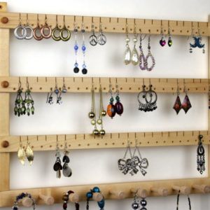 Shop Jewelry Organizers & Earring Racks! Jewelry Organizer | Basswood Wall Mount | Holds 72 pairs of Earrings with 10 pegs | Shop jewelry making and beading supplies, tools & findings for DIY jewelry making and crafts. #jewelrymaking #diyjewelry #jewelrycrafts #jewelrysupplies #beading #affiliate #ad