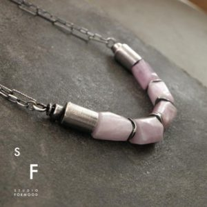 Pink Kunzite and oxidized sterling silver – necklace, modern raw oxidized silver necklace – studioformood | Natural genuine Kunzite necklaces. Buy crystal jewelry, handmade handcrafted artisan jewelry for women.  Unique handmade gift ideas. #jewelry #beadednecklaces #beadedjewelry #gift #shopping #handmadejewelry #fashion #style #product #necklaces #affiliate #ad