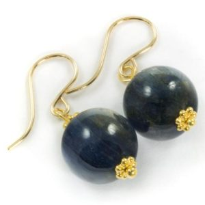 Shop Kyanite Earrings! Kyanite Earrings High Quality Smooth Round Rich Blue 14k Solid Yellow Gold or Filled or Sterling Silver Natural  Deep Blue Simple Drops | Natural genuine Kyanite earrings. Buy crystal jewelry, handmade handcrafted artisan jewelry for women.  Unique handmade gift ideas. #jewelry #beadedearrings #beadedjewelry #gift #shopping #handmadejewelry #fashion #style #product #earrings #affiliate #ad