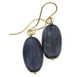 Shop Kyanite Earrings! Kyanite Earrings  Rich Blue High Quality Smooth Simple Natural Narrow Oval Drops 14k Solid Gold or Filled or Sterling Silver Dark Blue Denim | Natural genuine Kyanite earrings. Buy crystal jewelry, handmade handcrafted artisan jewelry for women.  Unique handmade gift ideas. #jewelry #beadedearrings #beadedjewelry #gift #shopping #handmadejewelry #fashion #style #product #earrings #affiliate #ad