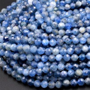 """Shop Kyanite Faceted Beads! AA Natural Blue Kyanite Faceted 3mm 4mm Round Beads 15.5"""" Strand   Natural genuine faceted Kyanite beads for beading and jewelry making.  #jewelry #beads #beadedjewelry #diyjewelry #jewelrymaking #beadstore #beading #affiliate #ad"""