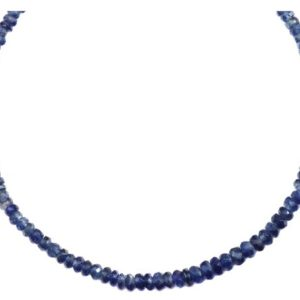Shop Kyanite Necklaces! Kyanite Necklace 14k Gold filled or Sterling Silver 18 19 Inch Chain Faceted Natural Earthy Gemstones 4mm Blue Deep Blue Solid Strand   Natural genuine Kyanite necklaces. Buy crystal jewelry, handmade handcrafted artisan jewelry for women.  Unique handmade gift ideas. #jewelry #beadednecklaces #beadedjewelry #gift #shopping #handmadejewelry #fashion #style #product #necklaces #affiliate #ad