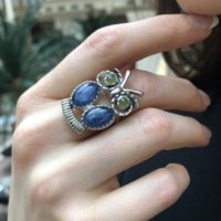 Owl Ring, Natural Kyanite, Statement Ring, Taurus Birthstone, Large Owl Ring, Vintage Ring, Animal Ring, Wisdom Ring, Solid Silver Ring | Natural genuine Gemstone jewelry. Buy crystal jewelry, handmade handcrafted artisan jewelry for women.  Unique handmade gift ideas. #jewelry #beadedjewelry #beadedjewelry #gift #shopping #handmadejewelry #fashion #style #product #jewelry #affiliate #ad