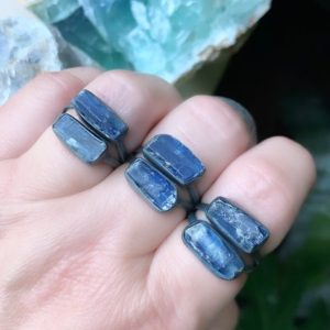 Shop Kyanite Rings! Raw kyanite ring, blue kyanite ring   Natural genuine Kyanite rings, simple unique handcrafted gemstone rings. #rings #jewelry #shopping #gift #handmade #fashion #style #affiliate #ad