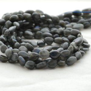 """High Quality Grade A Natural Black Labradorite Semi-precious Gemstone Pebble Tumbled stone Nugget Beads – approx 5mm – 8mm – 15"""" long strand 