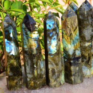 Shop Labradorite Points & Wands! AAAA 6 Inches Rainbow/Blue Large Labradorite Tower,Big Crystal Tower,Labradorite Wands,Healing Crystal Tower,Reiki Chakra Crystal Tower. | Natural genuine stones & crystals in various shapes & sizes. Buy raw cut, tumbled, or polished gemstones for making jewelry or crystal healing energy vibration raising reiki stones. #crystals #gemstones #crystalhealing #crystalsandgemstones #energyhealing #affiliate #ad