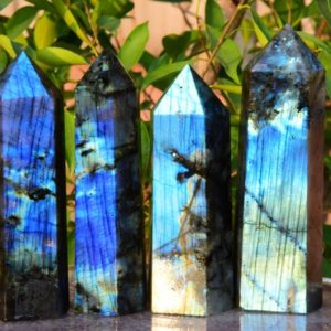 """Shop Labradorite Points & Wands! AAAA 6""""~7"""" Large Labradorite Crystal Tower,Natural Blue&Rainbow Labradorite Tower,Crystal Tower,Labradorite Big Tower,Approx 1.3~1.5 lbs 