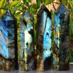 """Shop Labradorite Points & Wands! AAAA 7""""~8"""" Large Labradorite Crystal Tower,Natural Blue&Rainbow Labradorite Tower,Crystal Tower,Labradorite Big Tower,Approx 1.7~1.9 lbs. 