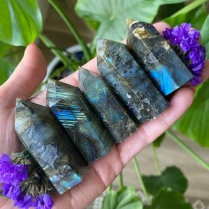 Shop Labradorite Points & Wands! Labradorite tower, labradorite gemerator,  intuition | Natural genuine stones & crystals in various shapes & sizes. Buy raw cut, tumbled, or polished gemstones for making jewelry or crystal healing energy vibration raising reiki stones. #crystals #gemstones #crystalhealing #crystalsandgemstones #energyhealing #affiliate #ad