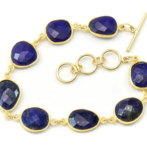 Shop Lapis Lazuli Bracelets! Blue Lapis Lazuli Bracelet Bezel Set Vermeil Toggle Clasp Faceted 14k Gold Filled 7 8 Inches Adjustable Earthy Natural Rich Blue Lapis Facet | Natural genuine Lapis Lazuli bracelets. Buy crystal jewelry, handmade handcrafted artisan jewelry for women.  Unique handmade gift ideas. #jewelry #beadedbracelets #beadedjewelry #gift #shopping #handmadejewelry #fashion #style #product #bracelets #affiliate #ad