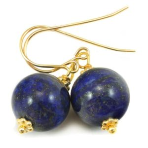 Shop Lapis Lazuli Earrings! Blue Lapis Lazuli Earrings Natural Round Dangles Sterling Silver or 14k Solid Gold or Filled Beaded Accents Simple Basic Drops Pyrite Flecks | Natural genuine Lapis Lazuli earrings. Buy crystal jewelry, handmade handcrafted artisan jewelry for women.  Unique handmade gift ideas. #jewelry #beadedearrings #beadedjewelry #gift #shopping #handmadejewelry #fashion #style #product #earrings #affiliate #ad