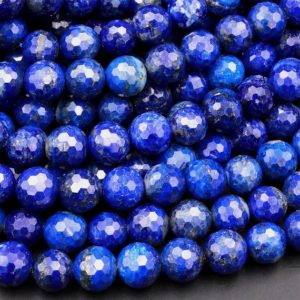 """AAA Faceted Natural Blue Lapis 4mm 6mm 8mm 10mm Round Beads 15.5"""" Strand 