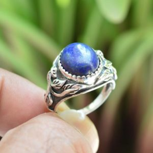 Lapis Lazuli Ring, Women Rings Jewelry, 10×12 mm Oval Lapis Ring, Boho Ring, Oxidized Ring Jewelry, Lapis Silver Ring, Gemstone Silver Rings | Natural genuine Gemstone rings, simple unique handcrafted gemstone rings. #rings #jewelry #shopping #gift #handmade #fashion #style #affiliate #ad