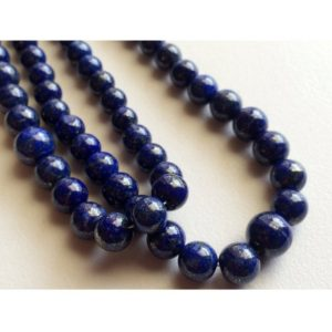 Shop Lapis Lazuli Rondelle Beads! 5mm-8mm Lapis Lazuli Plain Round Beads, Blue Lapis Smooth Plain Rondelles Beads, Lapis Lazuli Plain Balls For Jewelry (4.5IN To 9IN Option) | Natural genuine rondelle Lapis Lazuli beads for beading and jewelry making.  #jewelry #beads #beadedjewelry #diyjewelry #jewelrymaking #beadstore #beading #affiliate #ad