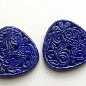Shop Lapis Lazuli Shapes! 34mm Lapis Lazuli Drilled Filigree Hand Carved Matched Pair, Original Lapis Lazuli Gemstone Carving, Natural Lapis Lazuli For Jewelry   Natural genuine stones & crystals in various shapes & sizes. Buy raw cut, tumbled, or polished gemstones for making jewelry or crystal healing energy vibration raising reiki stones. #crystals #gemstones #crystalhealing #crystalsandgemstones #energyhealing #affiliate #ad